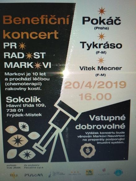 Benefiční koncert pro radost Markovi v sobotu 20.4. v 16:00 hod.